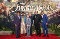 """HOLLYWOOD, CALIFORNIA - APRIL 04: (L-R) Actors Giancarlo Esposito, Lupita Nyong'o, Neel Sethi, Ben Kingsley, director/producer Jon Favreau and actor Ritesh Rajan attend The World Premiere of Disney's """"THE JUNGLE BOOK"""" at the El Capitan Theatre on April 4, 2016 in Hollywood, California. (Photo by Jesse Grant/Getty Images for Disney) *** Local Caption *** Neel Sethi; Lupita Nyong'o; Ritesh Rajan; Ben Kingsley; Ritesh Rajan; Jon Favreau"""