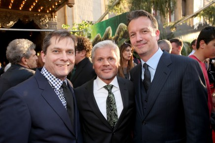 """HOLLYWOOD, CALIFORNIA - APRIL 04: (L-R) EVP Production, The Walt Disney Company, Sam Dickerman, producer Brigham Taylor and President of Walt Disney Studios Motion Picture Production, Sean Bailey attend The World Premiere of Disney's """"THE JUNGLE BOOK"""" at the El Capitan Theatre on April 4, 2016 in Hollywood, California. (Photo by Jesse Grant/Getty Images for Disney) *** Local Caption *** Sam Dickerman; Brigham Taylor; Sean Bailey"""