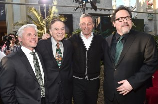 """HOLLYWOOD, CALIFORNIA - APRIL 04: (L-R) Producer Brigham Taylor, composer Richard Sherman, Chairman and CEO, The Walt Disney Company, Bob Iger and director Jon Favreau attend The World Premiere of Disney's """"THE JUNGLE BOOK"""" at the El Capitan Theatre on April 4, 2016 in Hollywood, California. (Photo by Alberto E. Rodriguez/Getty Images for Disney) *** Local Caption *** Brigham Taylor; Richard Sherman; Bob Iger; Jon Favreau"""