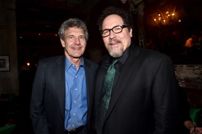 """HOLLYWOOD, CALIFORNIA - APRIL 04: Chairman of the Walt Disney Studios, Alan Horn (L) and director Jon Favreau attend The World Premiere of Disney's """"THE JUNGLE BOOK"""" at the El Capitan Theatre on April 4, 2016 in Hollywood, California. (Photo by Alberto E. Rodriguez/Getty Images for Disney) *** Local Caption *** Alan Horn; Jon Favreau"""
