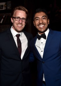 """HOLLYWOOD, CALIFORNIA - APRIL 04: Animation supervisor Andrew R. Jones (L) and actor Ritesh Rajan attend The World Premiere of Disney's """"THE JUNGLE BOOK"""" at the El Capitan Theatre on April 4, 2016 in Hollywood, California. (Photo by Alberto E. Rodriguez/Getty Images for Disney) *** Local Caption *** Andrew R. Jones; Ritesh Rajan"""