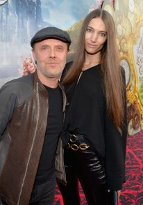 HOLLYWOOD, CA - MAY 23: Drummer Lars Ulrich and model Jessica Miller attend Disney's 'Alice Through the Looking Glass' premiere with the cast of the film, which included Johnny Depp, Anne Hathaway, Mia Wasikowska and Sacha Baron Cohen at the El Capitan Theatre on May 23, 2016 in Hollywood, California. (Photo by Charley Gallay/Getty Images for Disney) *** Local Caption *** Lars Ulrich; Jessica Miller