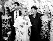 HOLLYWOOD, CA - MAY 23: (EDITORS NOTE: Image has been shot in black and white. Color version not available.) (L-R) Actress Anne Hathaway, actor Sacha Baron Cohen, singer-songwriter P!nk, actor Johnny Depp and actress Mia Wasikowska attend Disney's 'Alice Through the Looking Glass' premiere with the cast of the film, which included Johnny Depp, Anne Hathaway, Mia Wasikowska and Sacha Baron Cohen at the El Capitan Theatre on May 23, 2016 in Hollywood, California. (Photo by Charley Gallay/Getty Images for Disney) *** Local Caption *** Anne Hathaway; Sacha Baron Cohen; Alecia Beth Moore; Johnny Depp; Mia Wasikowska