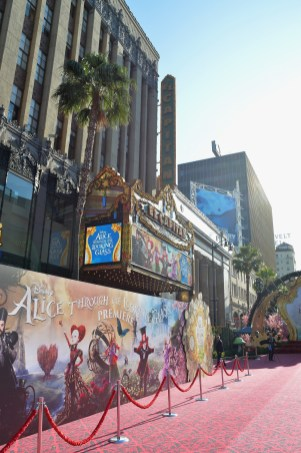 HOLLYWOOD, CA - MAY 23: A view of the atmosphere at Disney's 'Alice Through the Looking Glass' premiere with the cast of the film, which included Johnny Depp, Anne Hathaway, Mia Wasikowska and Sacha Baron Cohen at the El Capitan Theatre on May 23, 2016 in Hollywood, California. (Photo by Charley Gallay/Getty Images for Disney)