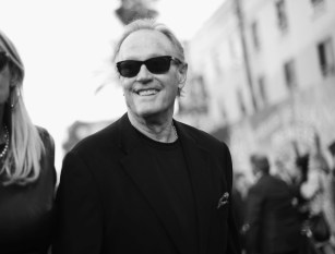 HOLLYWOOD, CA - MAY 23: (EDITORS NOTE: Image has been shot in black and white. Color version not available.) Actor Peter Fonda attends Disney's 'Alice Through the Looking Glass' premiere with the cast of the film, which included Johnny Depp, Anne Hathaway, Mia Wasikowska and Sacha Baron Cohen at the El Capitan Theatre on May 23, 2016 in Hollywood, California. (Photo by Charley Gallay/Getty Images for Disney) *** Local Caption *** Peter Fonda