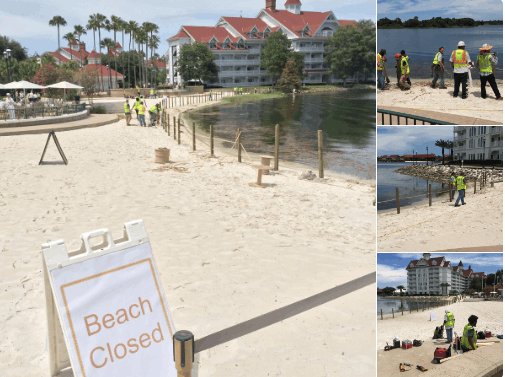 Fence being constructed on the beach at Disney's Grand Floridian Resort