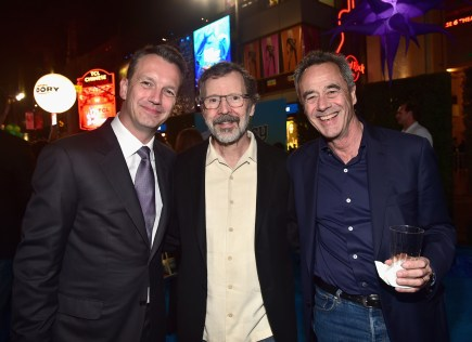 HOLLYWOOD, CA - JUNE 08: (L-R) President of Walt Disney Studios Motion Picture Production, Sean Bailey, President of Walt Disney Animation Studios and Pixar Animation Studios Edwin Catmull and President of Pixar Animation Studios, Jim Morris attend The World Premiere of Disney-Pixar's FINDING DORY on Wednesday, June 8, 2016 in Hollywood, California. (Photo by Alberto E. Rodriguez/Getty Images for Disney) *** Local Caption *** Sean Bailey; Edwin Catmull; Jim Morris