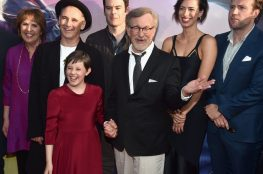 """HOLLYWOOD, CA - JUNE 21: (L-R) Actors Penelope Wilton, Mark Rylance, Ruby Barnhill, Bill Hader, director Steven Spielberg, actors Rebecca Hall and Rafe Spall arrive on the red carpet for the US premiere of Disney's """"The BFG,"""" directed and produced by Steven Spielberg. A giant sized crowd lined the streets of Hollywood Boulevard to see stars arrive at the El Capitan Theatre. """"The BFG"""" opens in U.S. theaters on July 1, 2016, the year that marks the 100th anniversary of Dahl's birth, at the El Capitan Theatre on June 21, 2016 in Hollywood, California. (Photo by Alberto E. Rodriguez/Getty Images for Disney) *** Local Caption *** Penelope Wilton; Mark Rylance; Ruby Barnhill; Bill Hader; Steven Spielberg; Rebecca Hall; Rafe Spall"""