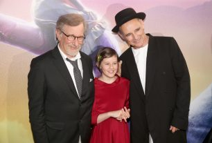"""HOLLYWOOD, CA - JUNE 21: (L-R) Director Steven Spielberg, actress Ruby Barnhill and actor Mark Rylance arrive on the red carpet for the US premiere of Disney's """"The BFG,"""" directed and produced by Steven Spielberg. A giant sized crowd lined the streets of Hollywood Boulevard to see stars arrive at the El Capitan Theatre. """"The BFG"""" opens in U.S. theaters on July 1, 2016, the year that marks the 100th anniversary of Dahl's birth, at the El Capitan Theatre on June 21, 2016 in Hollywood, California. (Photo by Jesse Grant/Getty Images for Disney) *** Local Caption *** Steven Spielberg; Ruby Barnhill; Mark Rylance"""