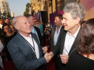 """HOLLYWOOD, CA - JUNE 21: Producer Frank Marshall and Chairman, The Walt Disney Studios, Alan Horn arrive on the red carpet for the US premiere of Disney's """"The BFG,"""" directed and produced by Steven Spielberg. A giant sized crowd lined the streets of Hollywood Boulevard to see stars arrive at the El Capitan Theatre. """"The BFG"""" opens in U.S. theaters on July 1, 2016, the year that marks the 100th anniversary of Dahl's birth, at the El Capitan Theatre on June 21, 2016 in Hollywood, California. (Photo by Jesse Grant/Getty Images for Disney) *** Local Caption *** Frank Marshall; Alan Horn"""