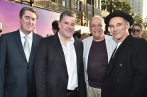 """HOLLYWOOD, CA - JUNE 21: (L-R) Weta's Kevin Sherwood, Guy Williams, Joe Letteri and actor Mark Rylance arrive on the red carpet for the US premiere of Disney's """"The BFG,"""" directed and produced by Steven Spielberg. A giant sized crowd lined the streets of Hollywood Boulevard to see stars arrive at the El Capitan Theatre. """"The BFG"""" opens in U.S. theaters on July 1, 2016, the year that marks the 100th anniversary of Dahl's birth, at the El Capitan Theatre on June 21, 2016 in Hollywood, California. (Photo by Alberto E. Rodriguez/Getty Images for Disney) *** Local Caption *** Kevin Sherwood; Guy Williams; Joe Letteri; Mark Rylance"""