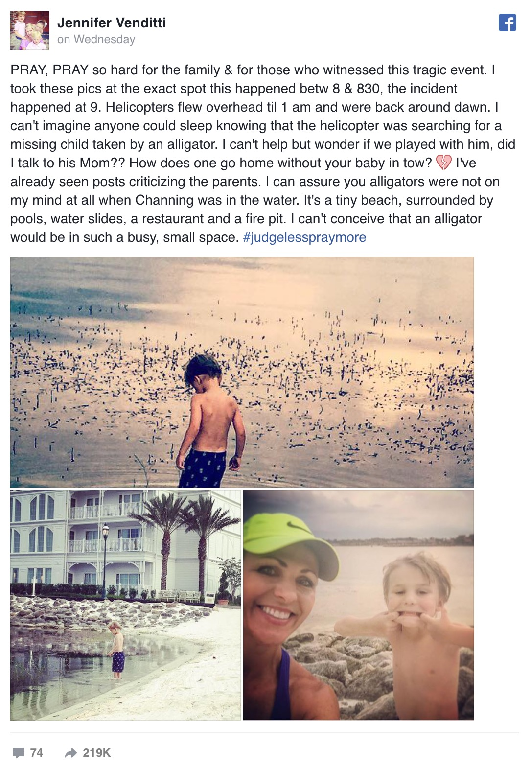 Photo of boy playing in the water hours before alligator attack