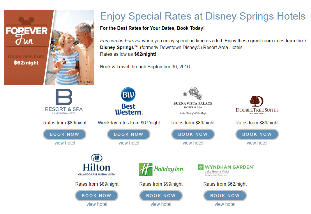 Disney Springs Resort Area Hotels offers for amazing end of summer vacations!