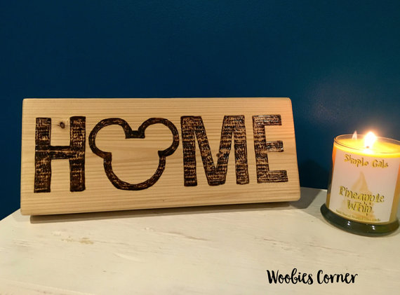 Delightfully Rustic Mickey HOME Wooden Sign for the Fall