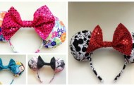 Colorful and Unique Handmade Fabric Minnie Mouse Ears