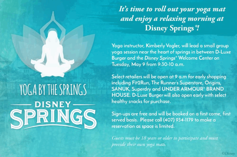 "Disney Springs Offering A Free Yoga Session Called ""Yoga By The Springs"""