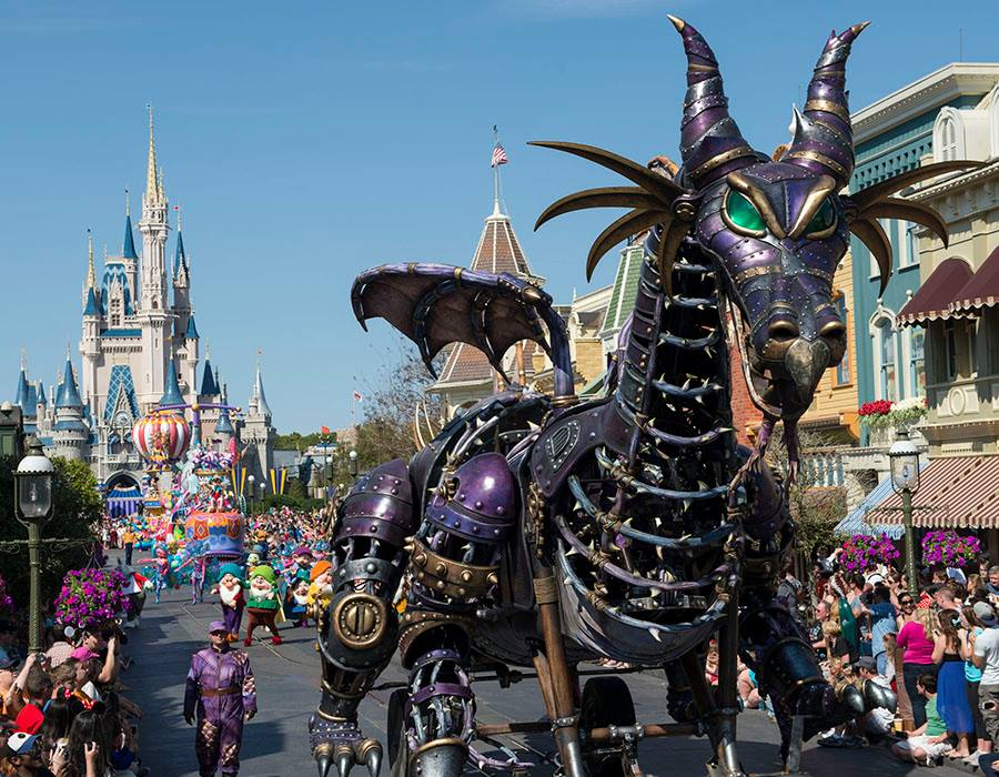 Fire Erupts on Festival of Fantasy Parade Float