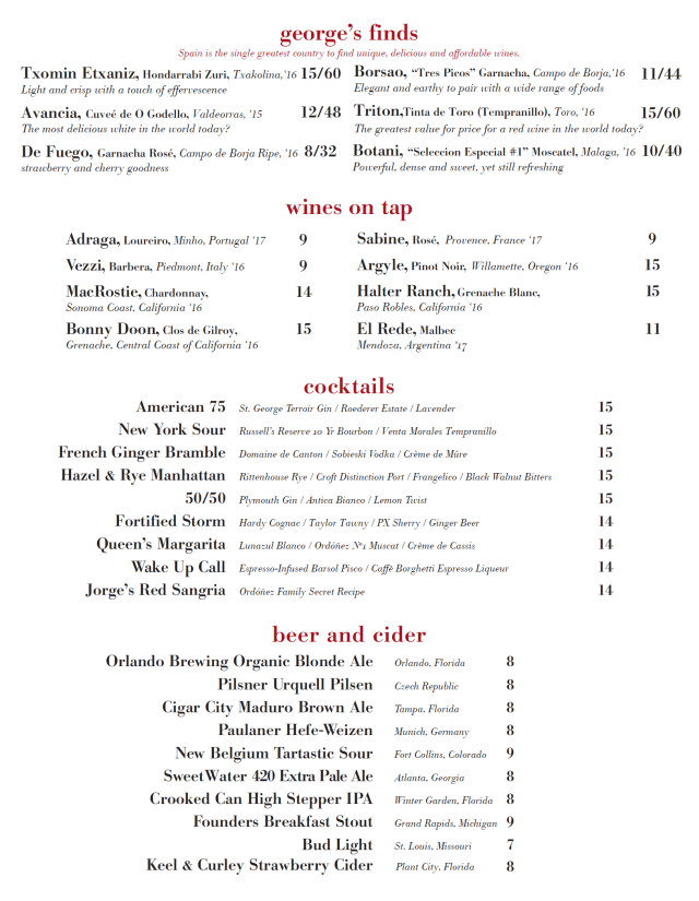 Wine Bar George Full Menus Have Been Released Prior To This Weekend's Grand Opening 4
