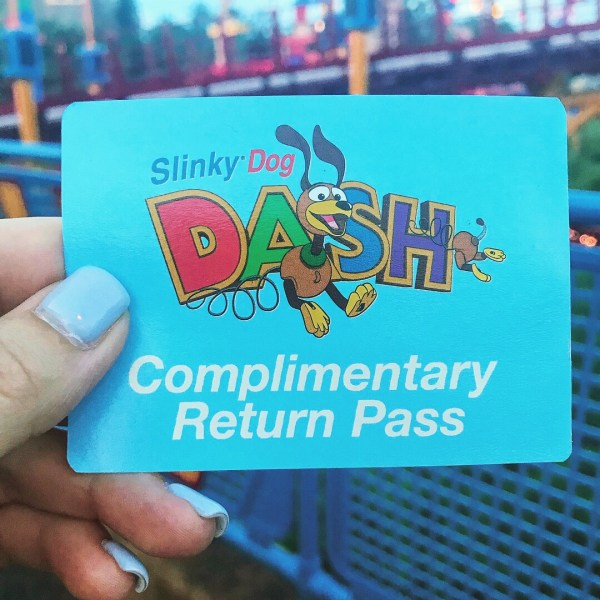 Slinky Dog Dash complimentary return pass