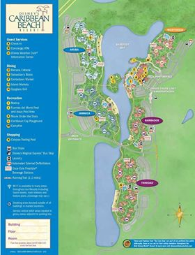 Updated Disney's Caribbean Beach Resort map - front
