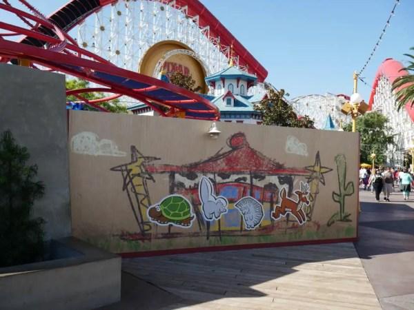 New Sticker Construction Wall Up at Pixar Pier
