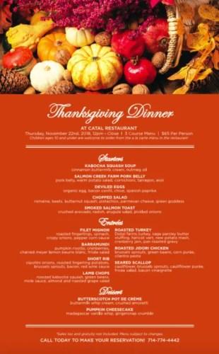 Thanksgiving Dinner at Catal Restaurant in Downtown Disney