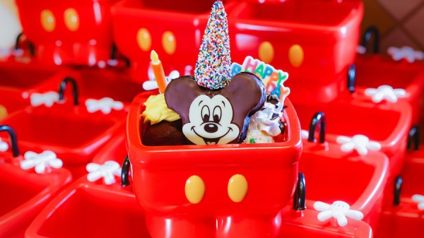 Mickey And Minnie Mouse Birthday Cake Ice Cream Sundae Two Scoops Of Topped With A Brownie Hot Fudge Whipped Cherry