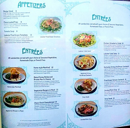 Plaza new menu