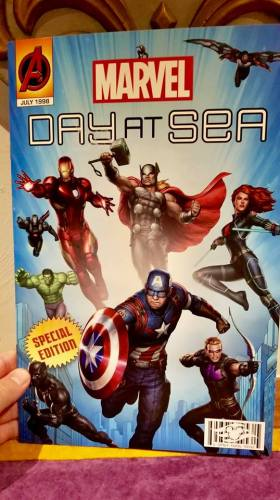 Marvel Day at Sea menu front cover