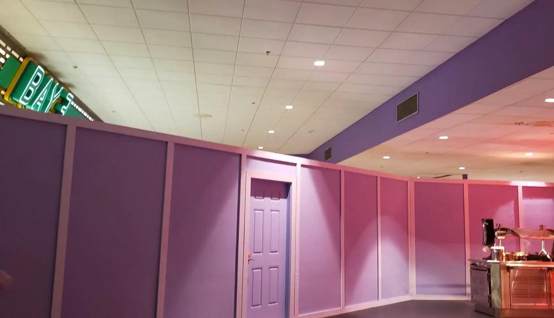 Purple Walls Invade Cosmic Ray's as Construction Progresses