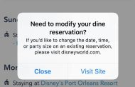 Dining Modification Pop Up Notification on My Disney Experience App