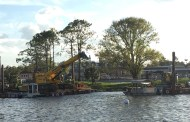 Construction Equipment Has Appeared On the World Showcase Lagoon at Epcot