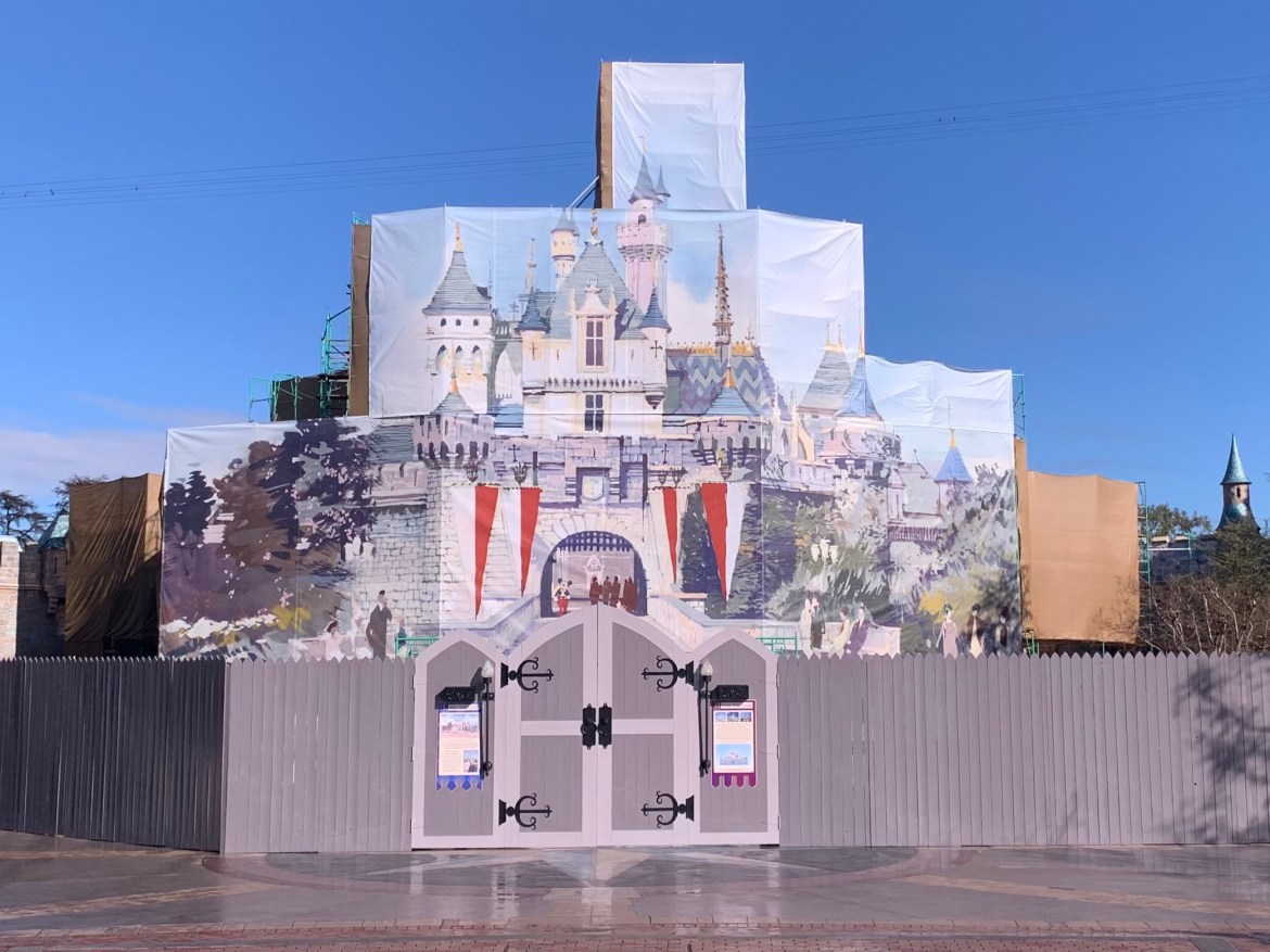 Sleeping Beauty's Castle Has Had a Beautiful Facade Erected During the Construction