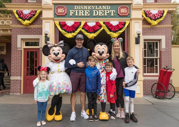 Saints Quarterback Drew Brees Spotted at Disneyland Park with Family.