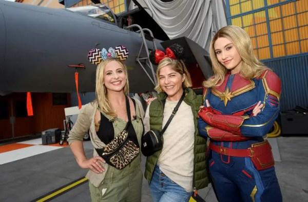 Sarah Michelle Gellar And Selma Blair Pose With Captain Marvel And Celebrate At Disneyland Resort
