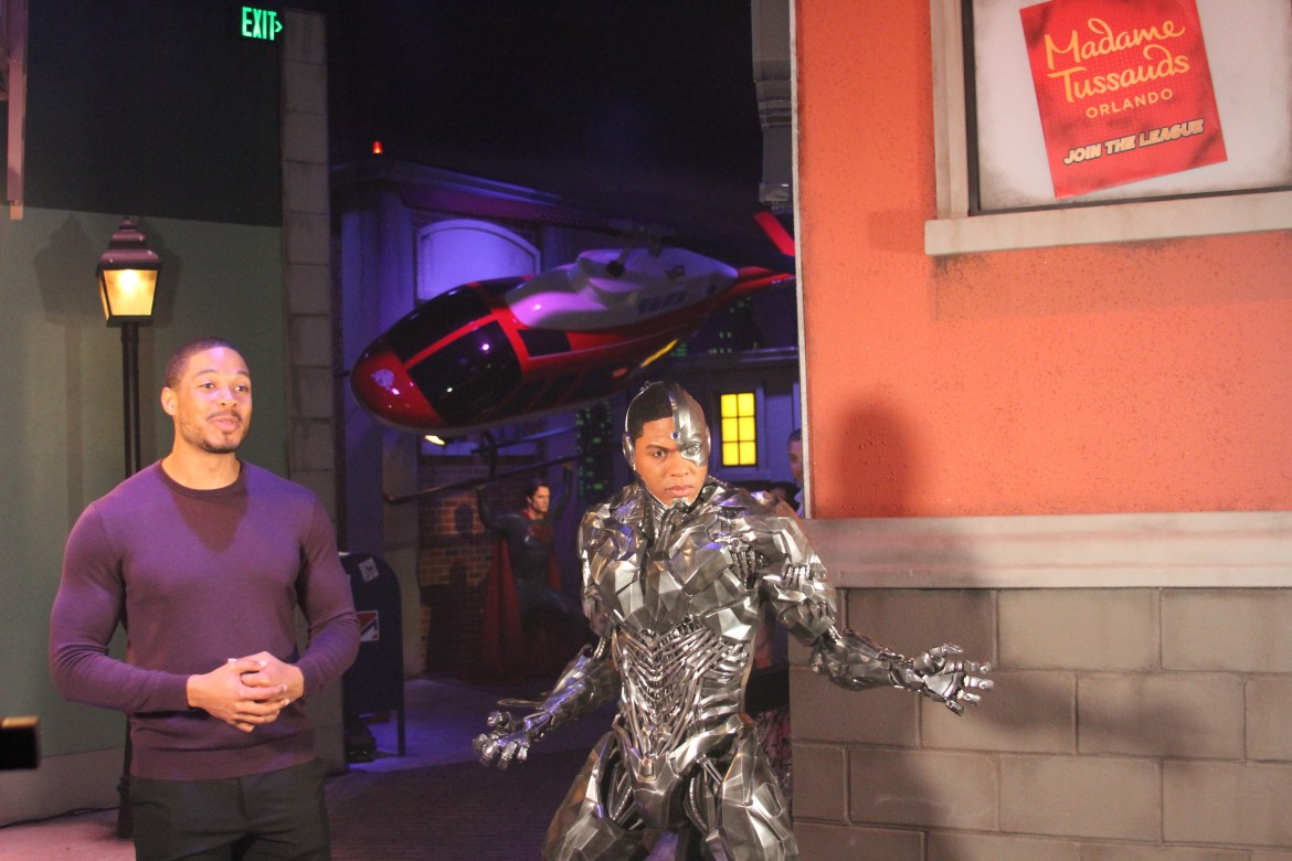 Justice League Star, Ray Fisher Visits his Cyborg Wax-Figure at Madame Tussauds Orlando's Justice League: A Call for Heroes experience
