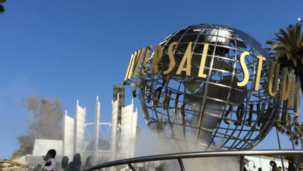 Universal Studios Hollywood; Climate Activists Climb, Superglue Themselves to The Globe 1