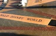 Walt Disney World misspelled on a fountain in Celebration
