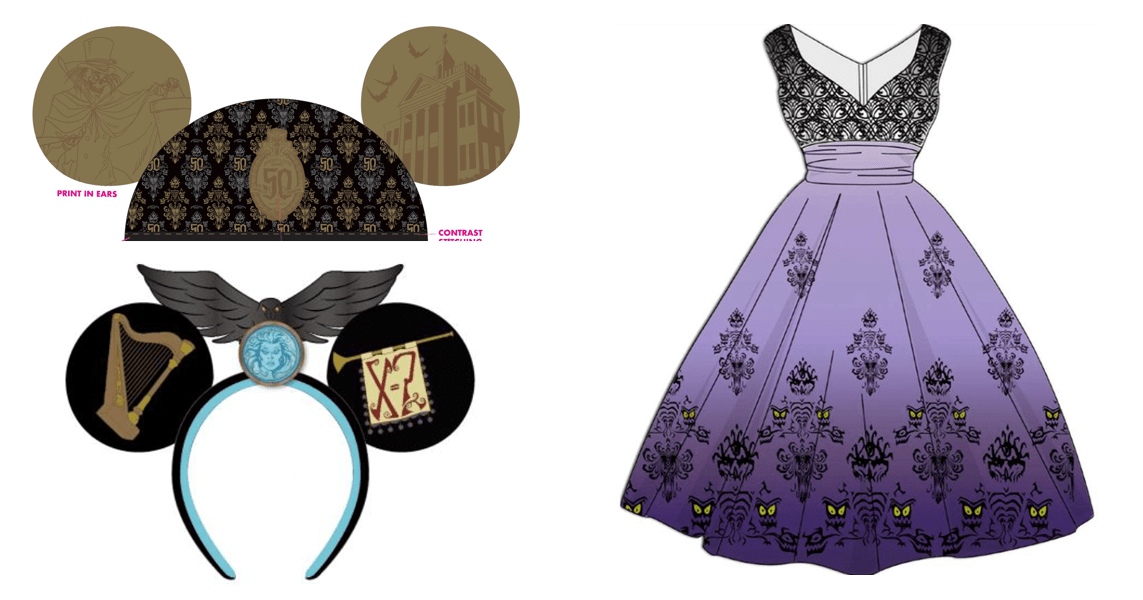 50th Anniversary Haunted Mansion Dress and Mouse Ears 1