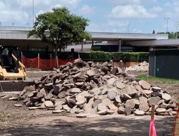 Transportation and Ticket Center Construction Eliminating Walkway Bricks.