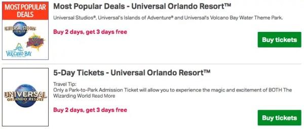 Universal Studios Orlando Buy 2 Get 3 Days Free at Sam's Club 2