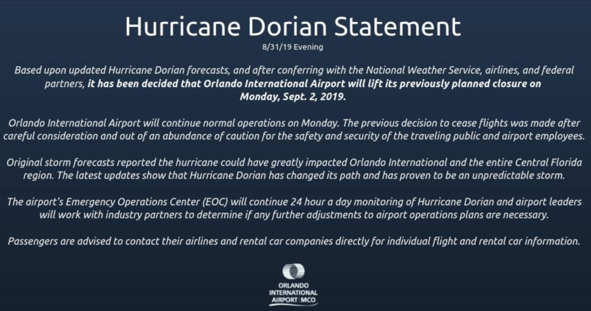 Orlando International Airport will continue with operations on Monday, September 2nd