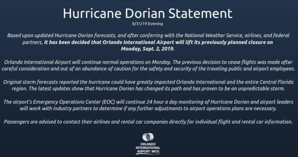 Orlando International Airport will continue with operations on Monday, September 2nd 1