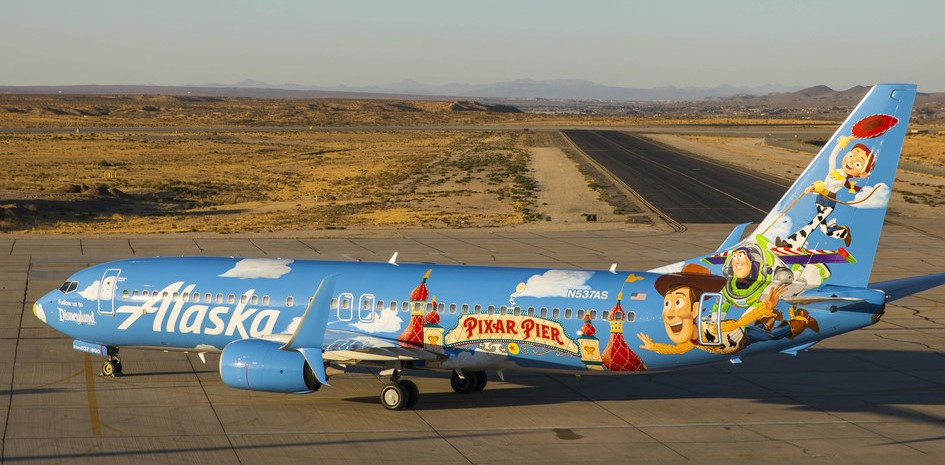 Alaska Airlines newest painted Pixar-themed aircraft showcases Pixar Pier at Disney California Adventure Park