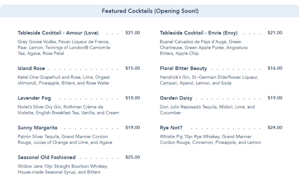 Full menu now available for the Enchanted Rose Lounge at the Grand Floridian Resort 2