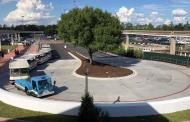 New Tram Drop-Off Area and Security Check for Parking Lot Entrance at Epcot