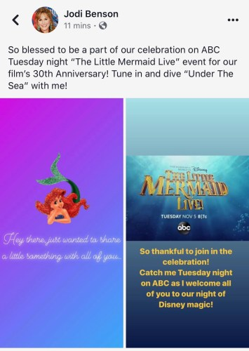 Original Voice of Ariel, Jodi Benson, Appearing in ABC's 'The Little Mermaid Live!' 2