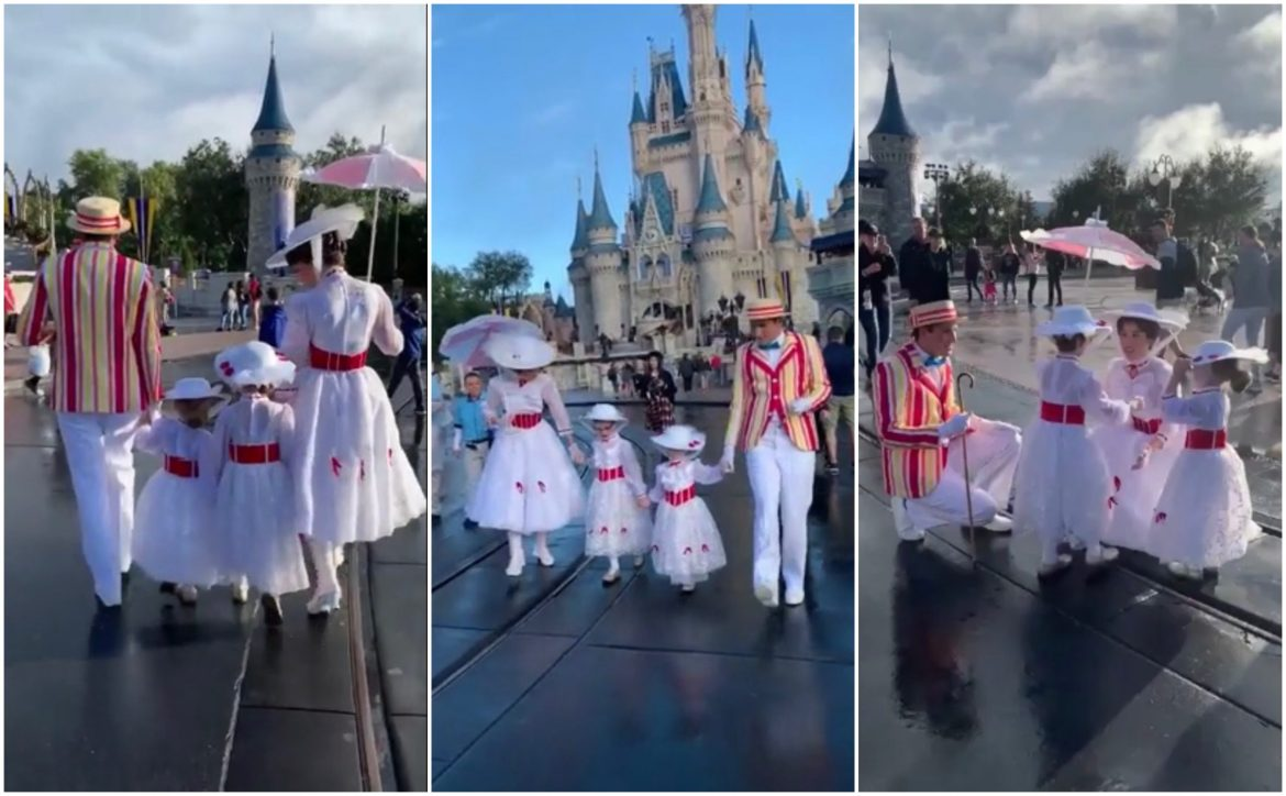 Mary Poppins and Bert Take a Stroll With Fans Dressed as Mary Poppins in Disney World