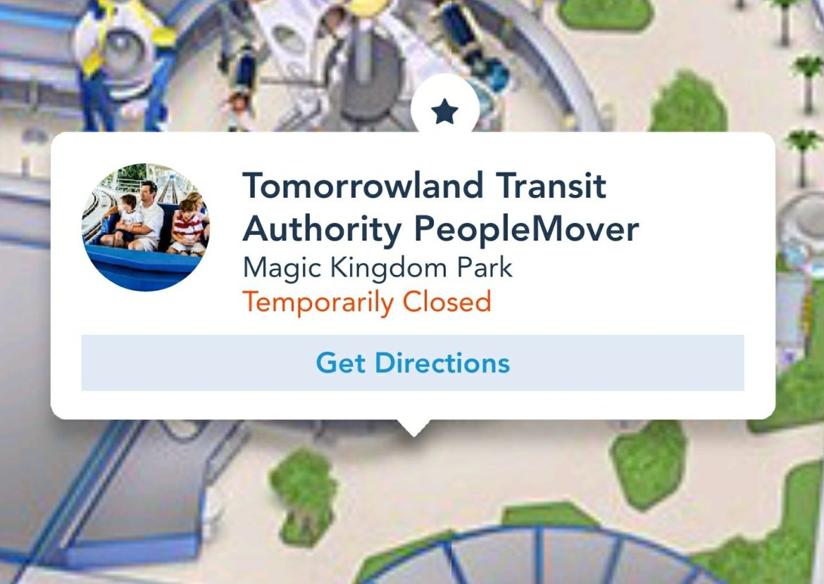 Smoke coming from the PeopleMover in the Magic Kingdom