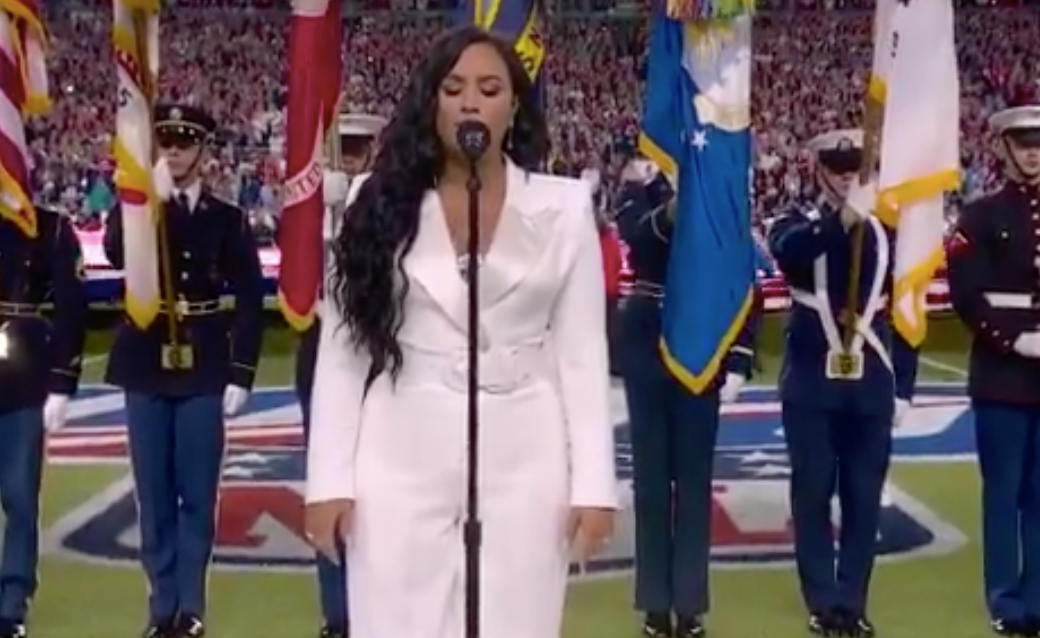 Disney Channel star Demi Lovato sings the National Anthem